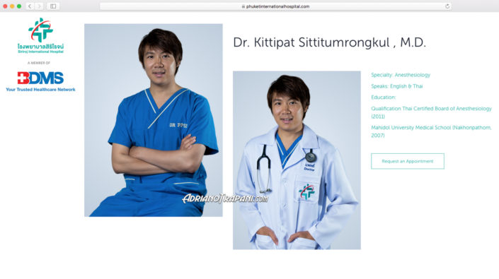 Corporate photography BDMS Siriroj International Hospital Male Anesthesiology Doctor's Portrait for website profile