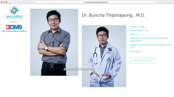 Corporate photography BDMS Siriroj International Hospital Male Urology Doctor's Portrait for website profile.