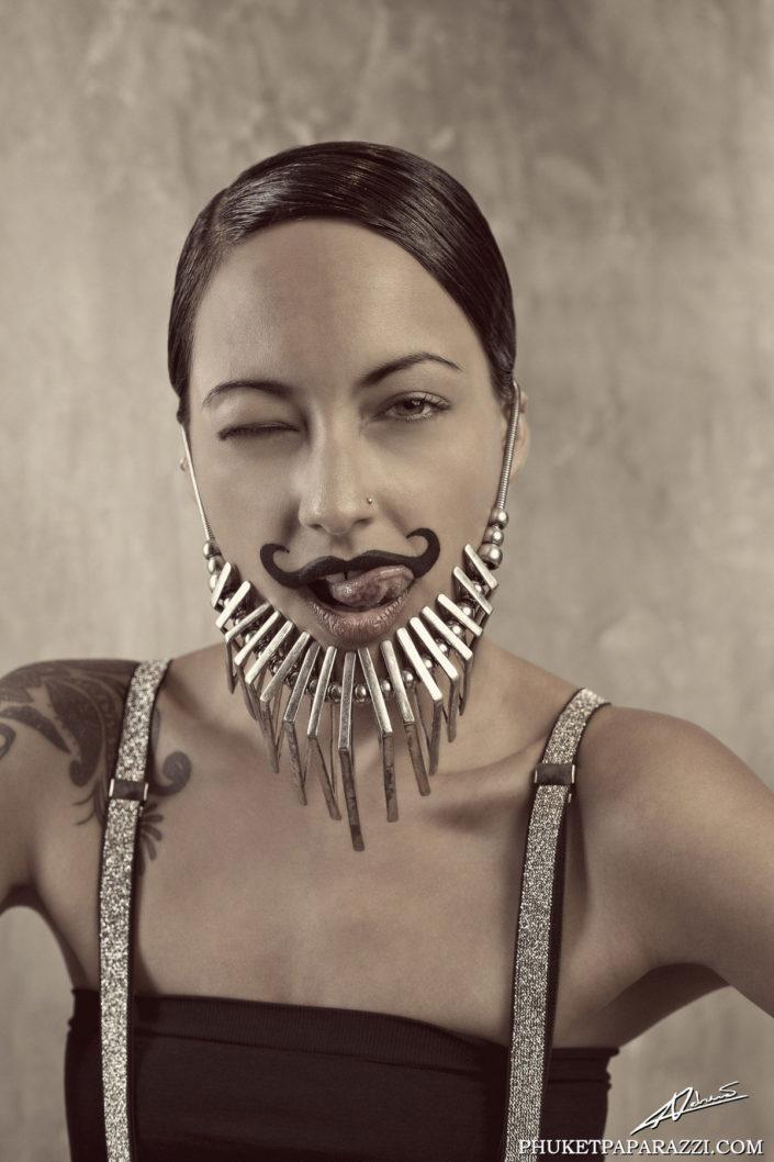 Fantasy photography bearded woman.