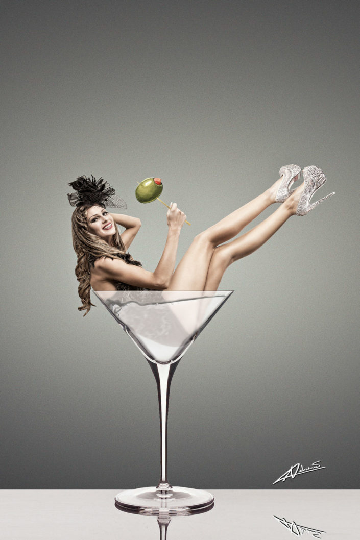 Fantasy photography woman in the martini glass.
