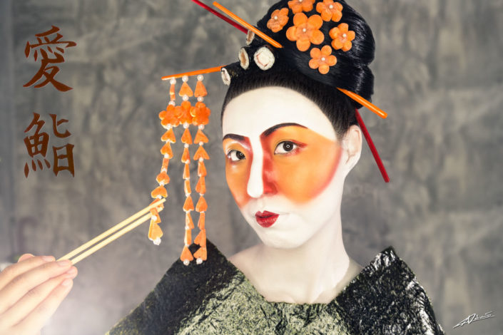Fantasy photography woman with sushi and sticks as accessories.