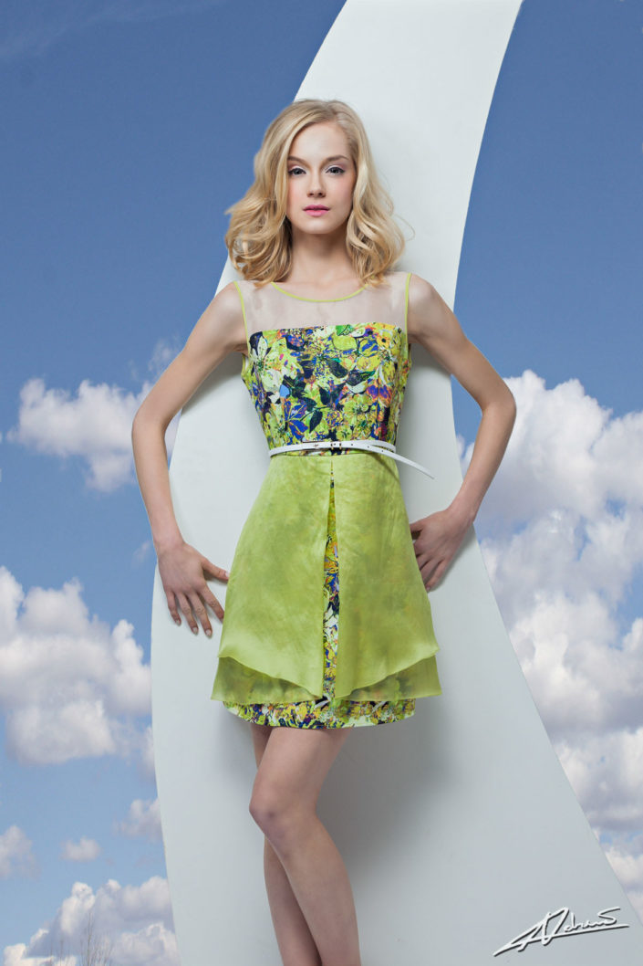 Fashion photography Canto Motto clothes model with green dress.