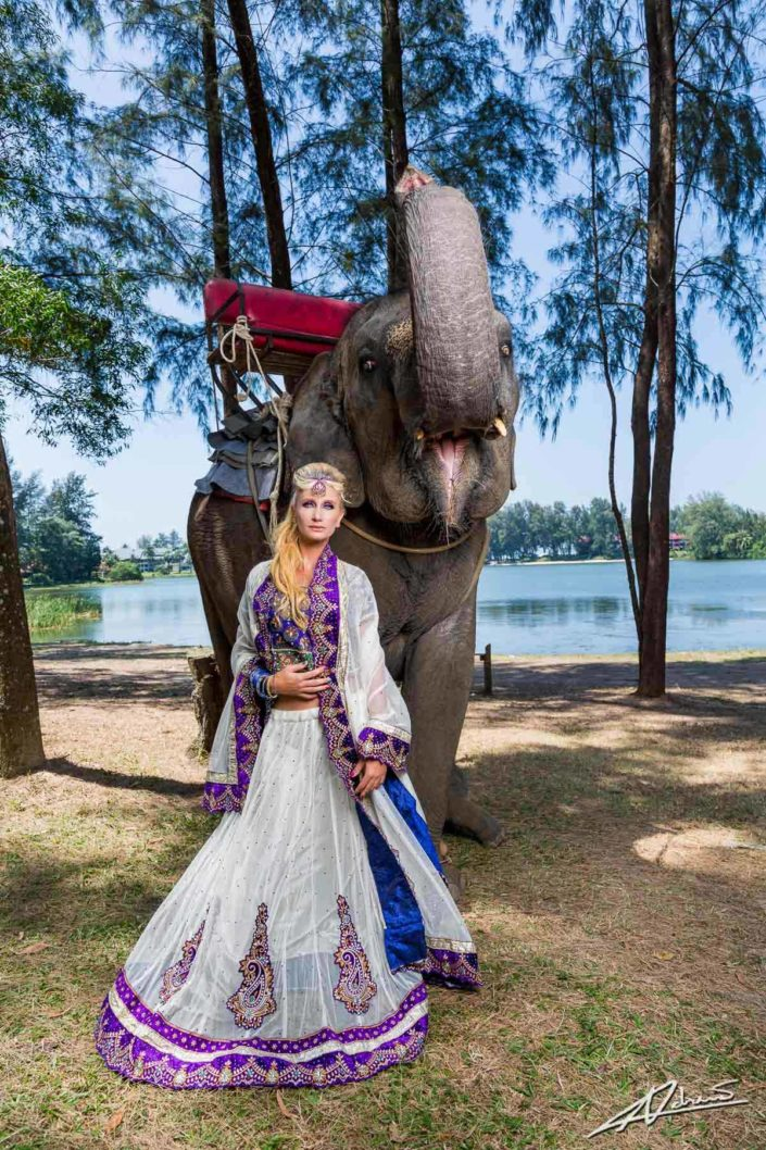Fashion photography model with indian wedding dress.