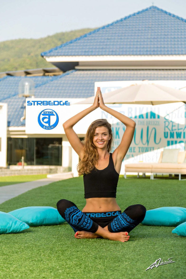 Fashion photography model with sport clothes for yoga.