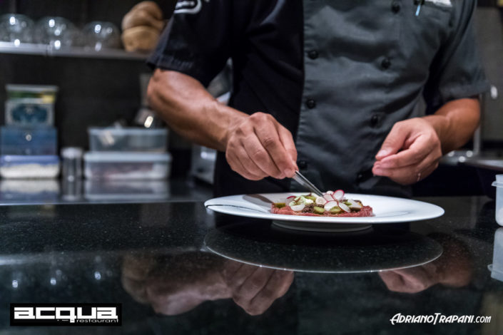 Food Photography Acqua Restaurant Phuket Chef Alessandro Frau at work on Beef Tartar.