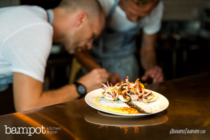Food Photography Bampot Kitchen & Bar Lifestyle Chef at work on seafood.