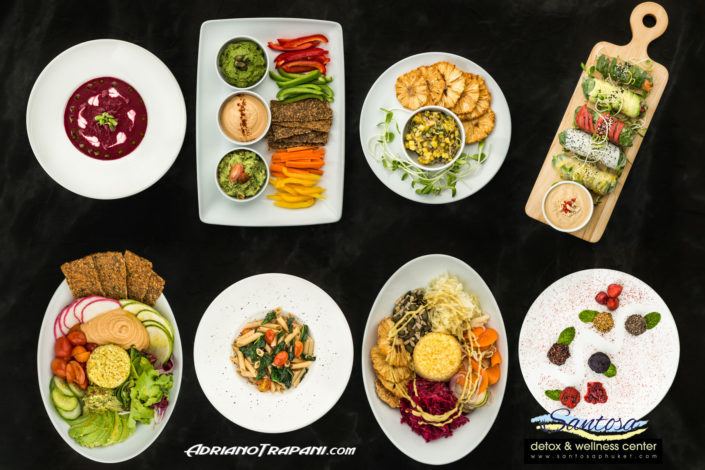 Food Photography Santosa Vegan Restaurant Phuket Starters Main courses and Dessert from Top.