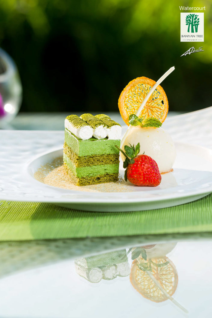 Food and drinks photography BanyanTree dessert green tea tiramisu.