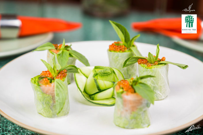 Food and drinks photography BanyanTree vietnamese spring roll.