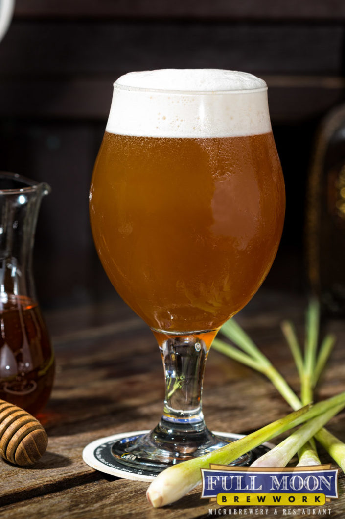 Food and drinks photography Full Moon Brewwork Phuket beer with honey and lemongrass