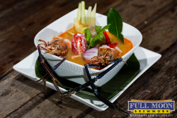 Food and drinks photography Full Moon Brewwork Phuket soup tom yum goong with prawn.