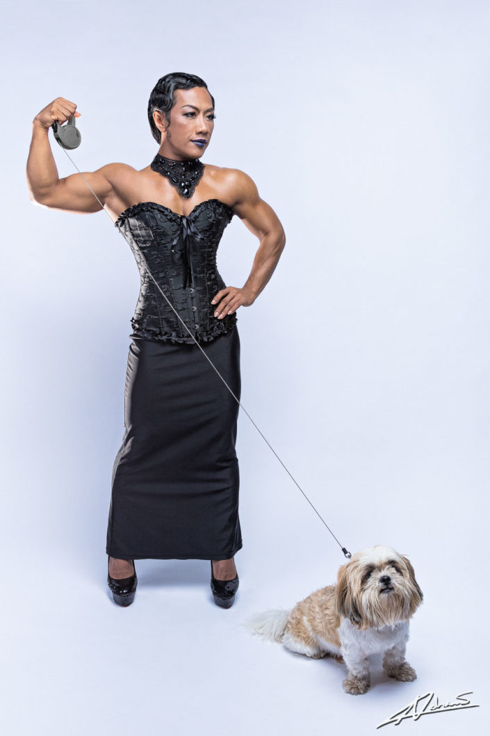 Model portfolio Joom with dog in the studio.