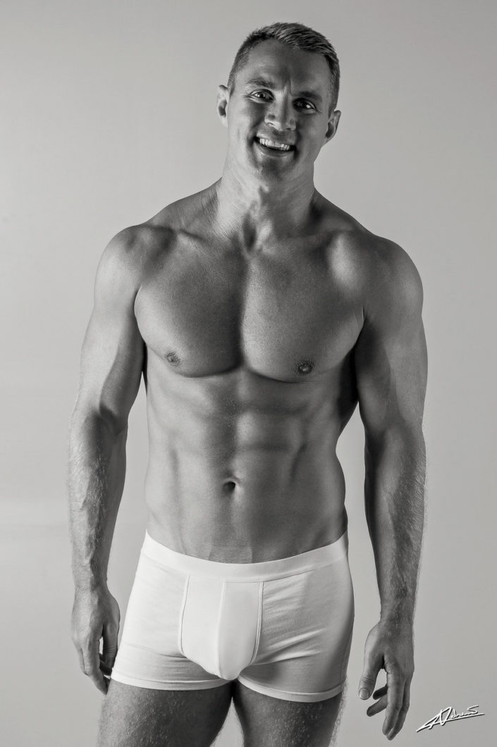 Model portfolio man with underwear in the studio.