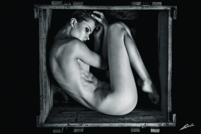 Nude photography woman inside the box.