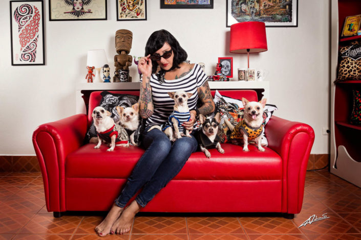Portrait photography woman with chihuahuas.