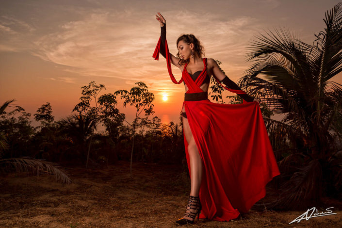 Portrait photography woman with red dress.