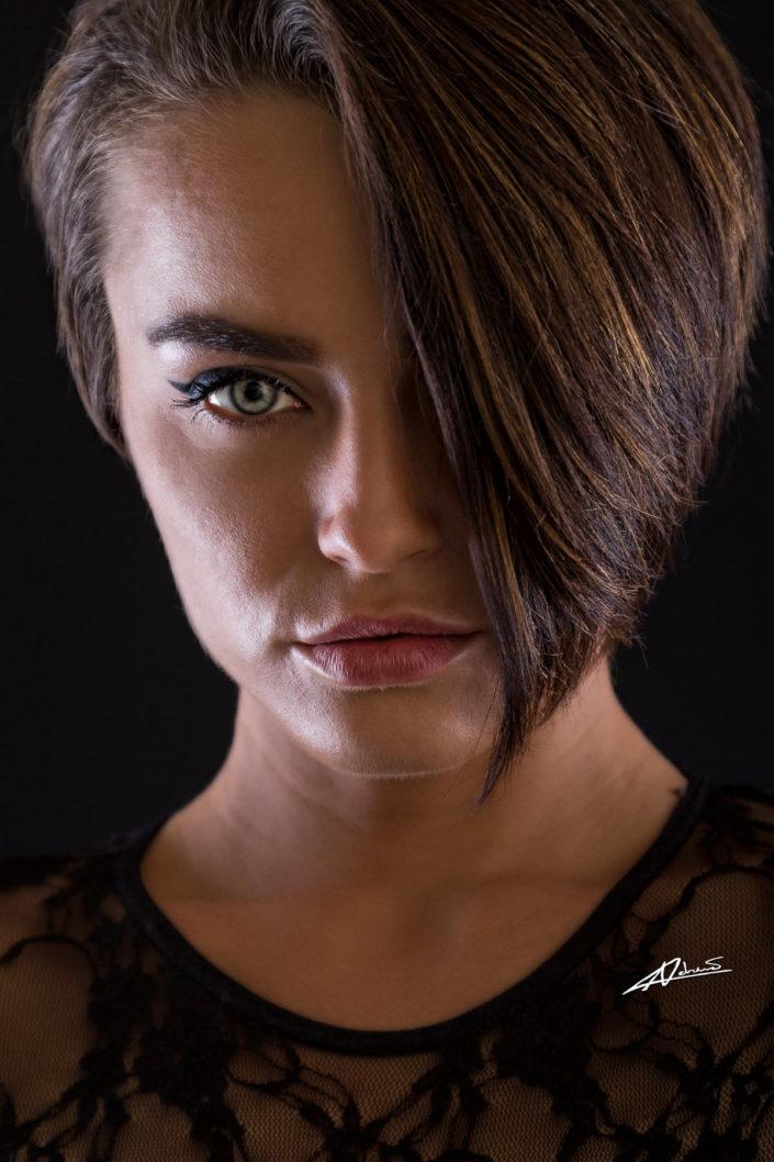 Portrait photography womans face close up shot.