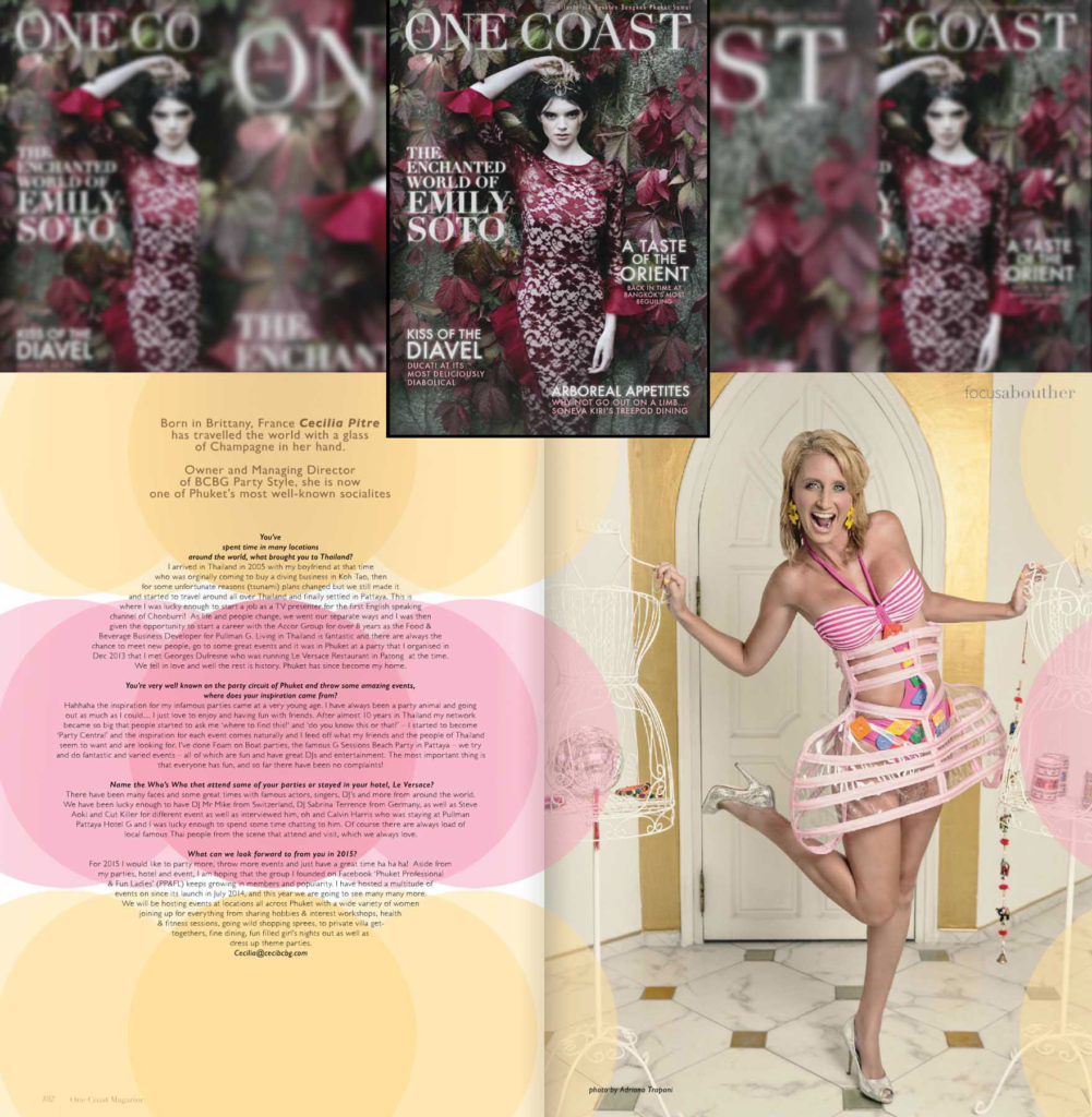 Press coverage One coast magazine photo of Cecilia Pitre january 2015.