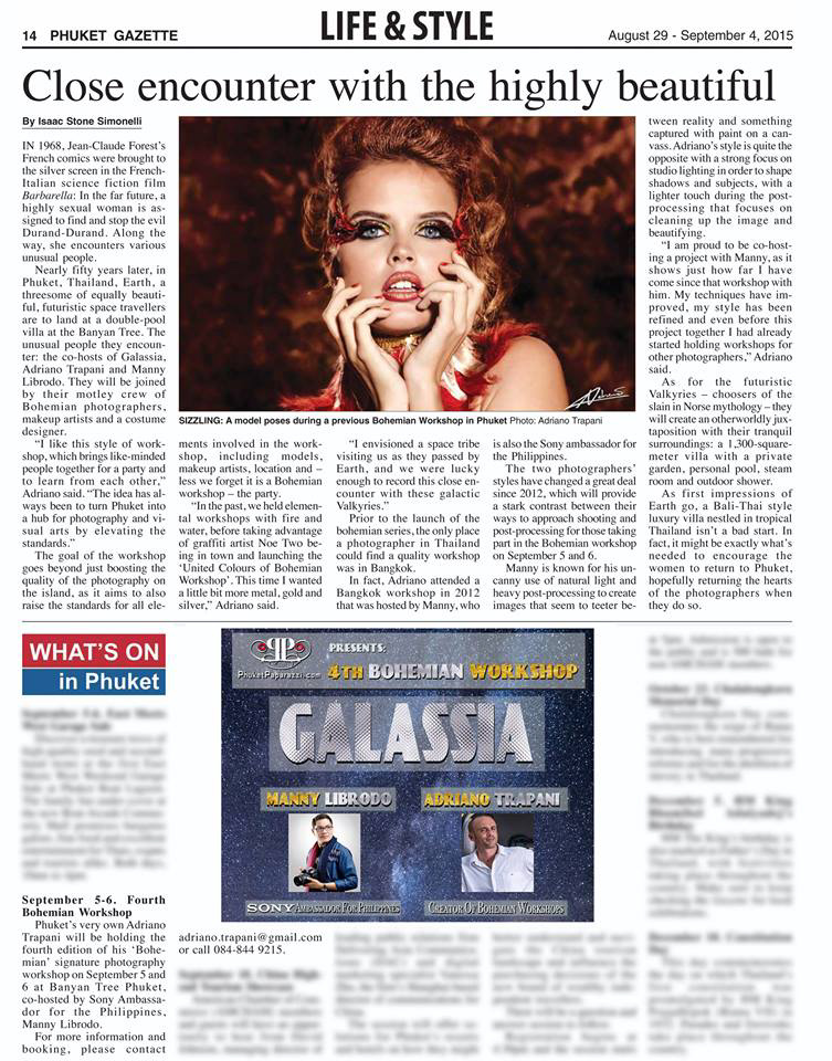 Press coverage Phuket Gazette article close encounter with highly beautiful august 2015.