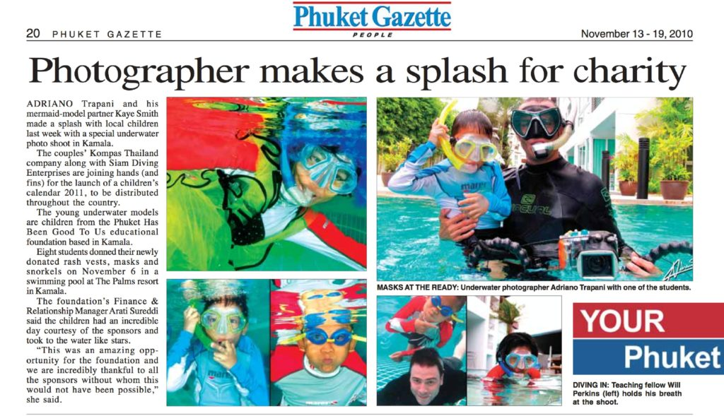Press coverage Phuket Gazette article Photographer makes a splash for charity november 2010.