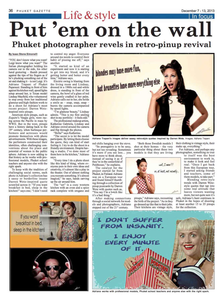 Press coverage Phuket Gazette article Put em on the wall december 2013.