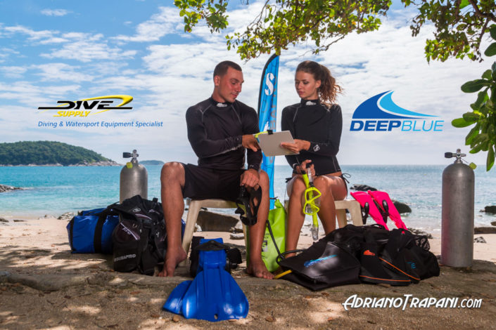 Product photography Dive Supply Deep Blue male and female equipment for diving and rashguards.