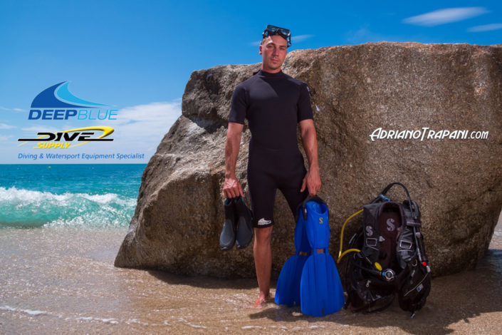 Product photography Dive Supply Deep Blue male equipment for diving and wetsuit.
