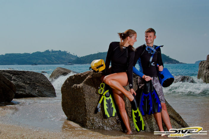 Products photography Dive Supply rashguard and snorkeling equipment.