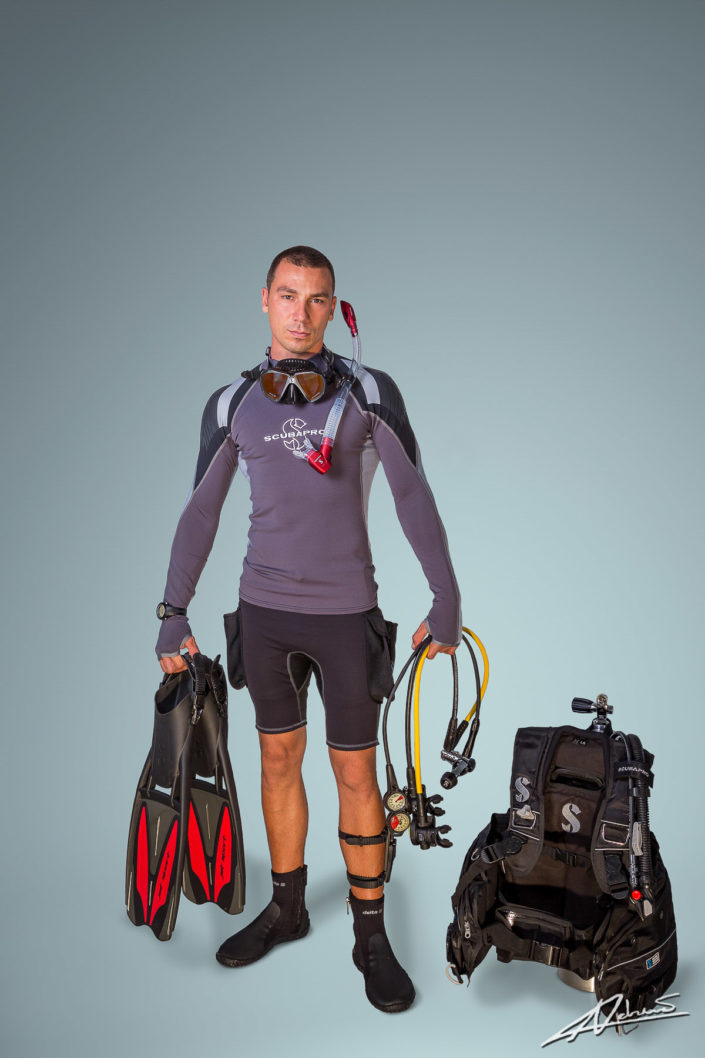 Product photography Scubapro scuba diving equipment in studio.