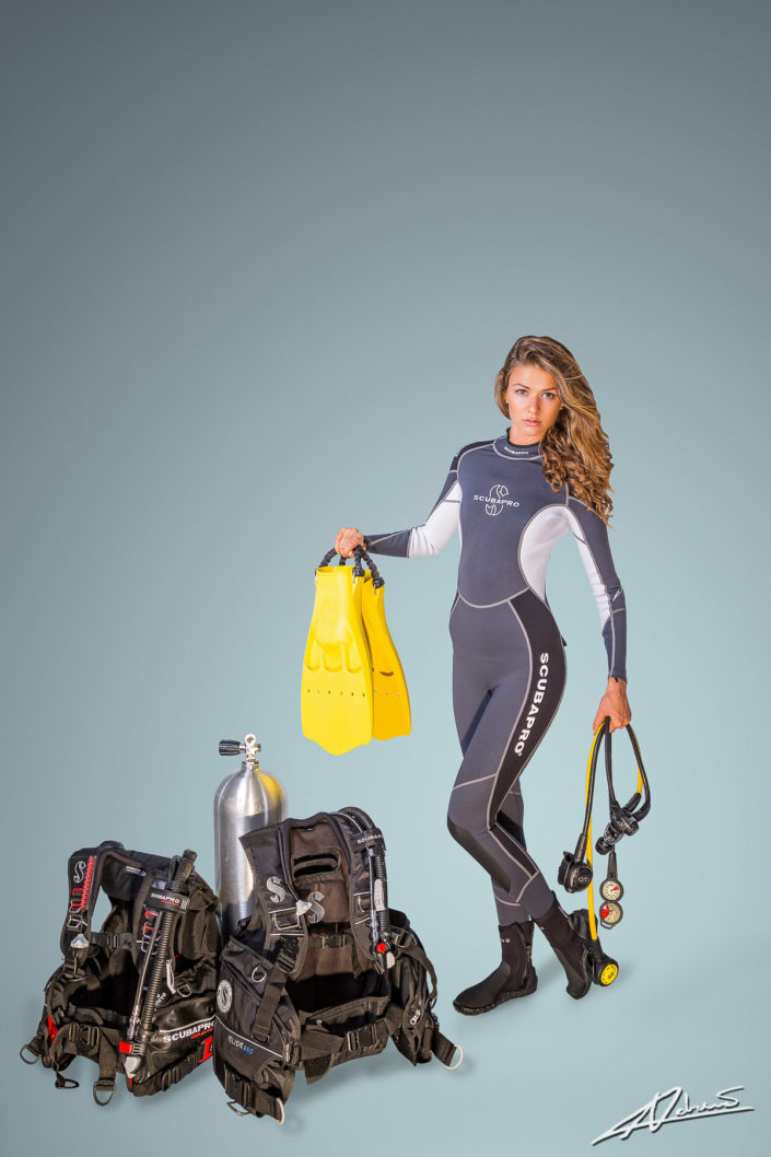 Product photography Scubapro wetsuit and diving equipment.