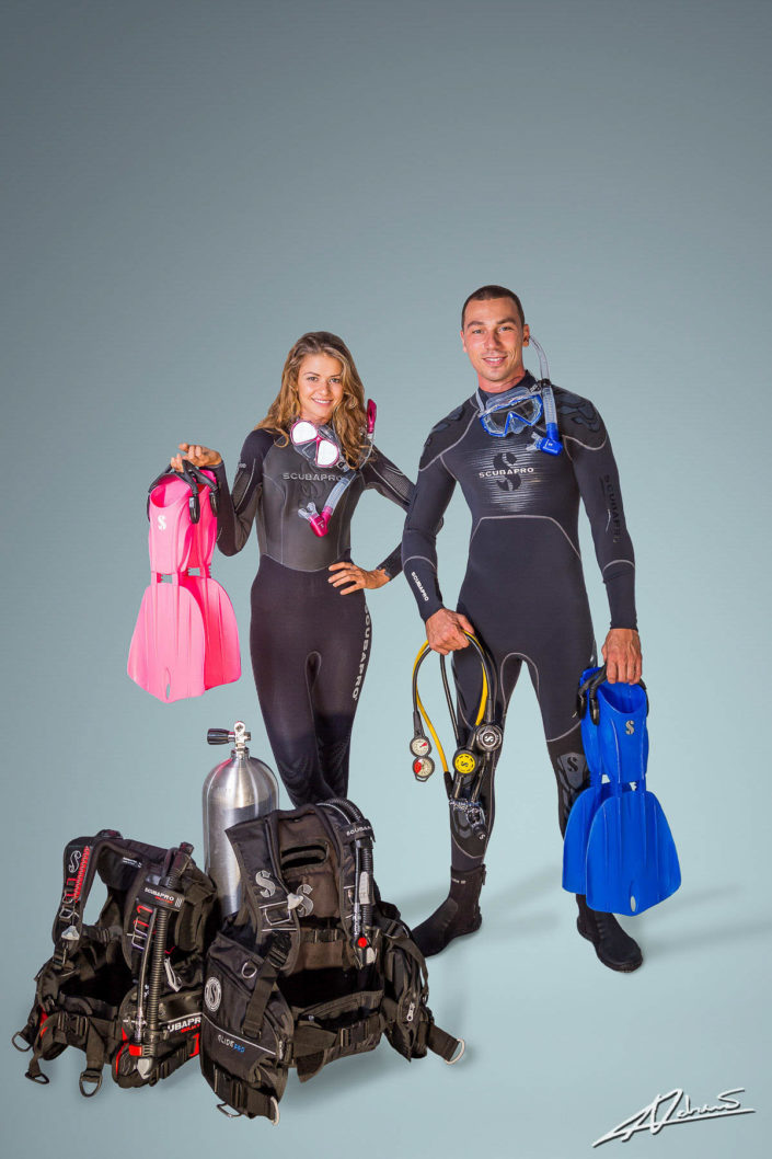 Product photography Scubapro wetsuits and diving equipment in studio.