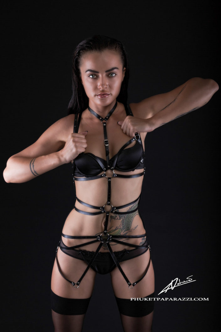Product photography fashion harness black.