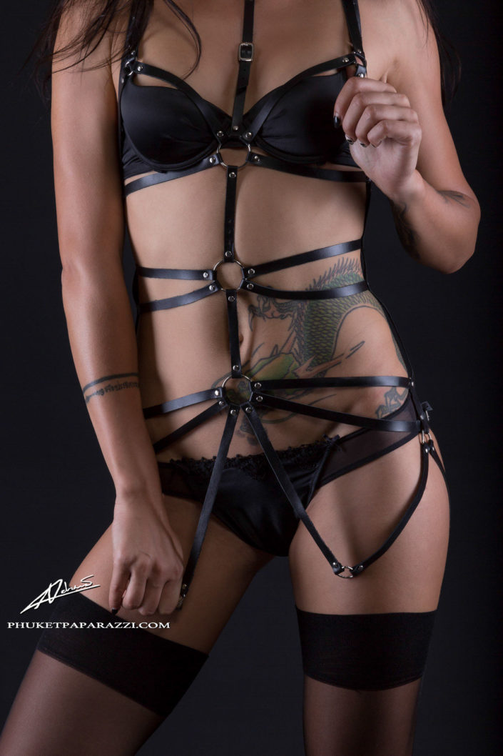 Product photography fashion harness close up shot.