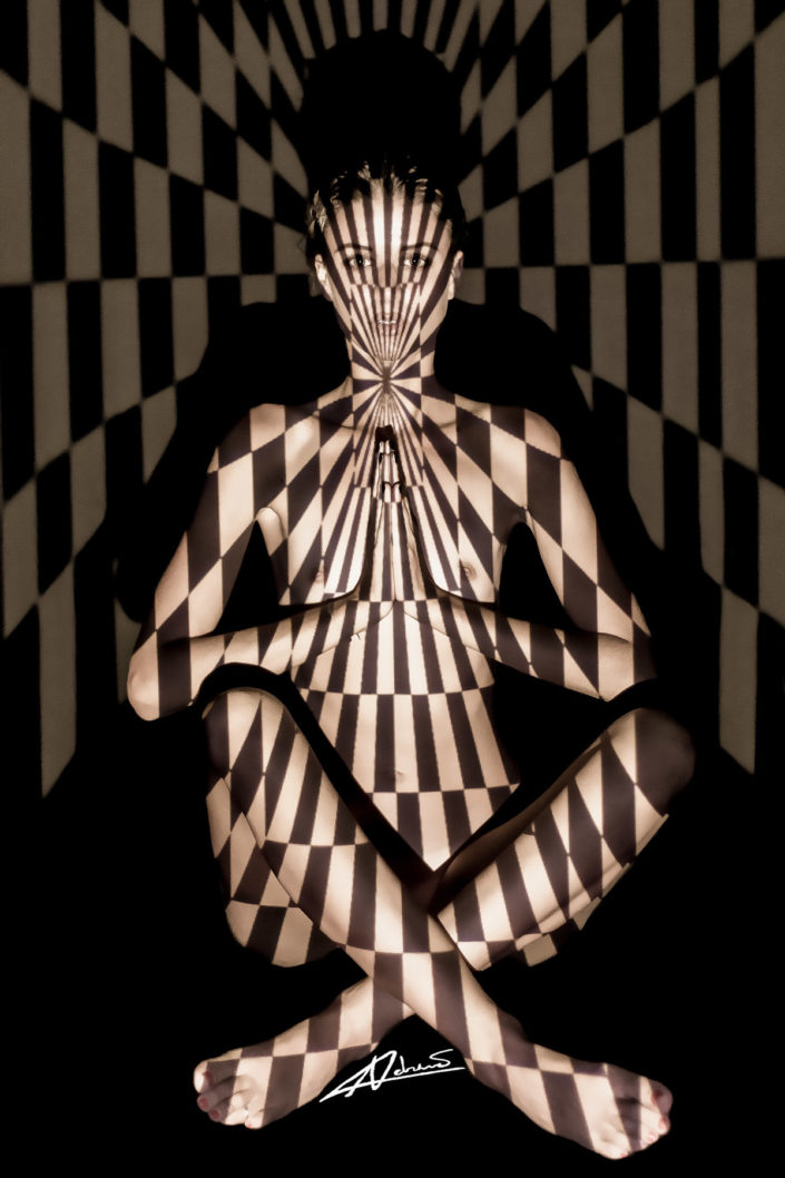 Projections-nude photography woman sitting with grey and white rectangles picture.