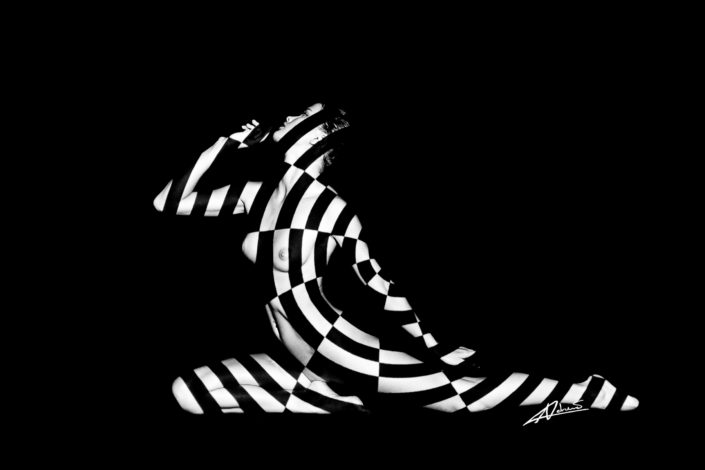 Projections-nude photography woman with black and white lines picture.
