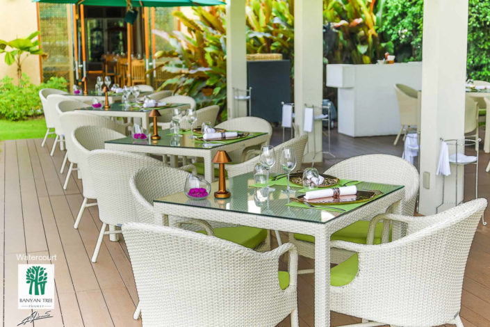 Real estate photography BanyanTree Phuket view of the restaurant terrace.