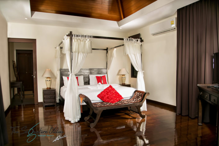 Real estate photography bedroom of the villa.