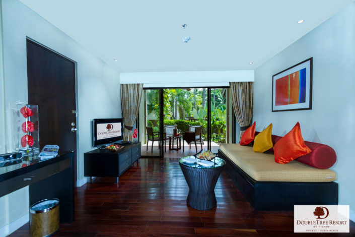 Real estate photography hotel suite of Doubletree resort by Hilton Phuket.