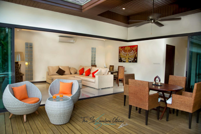 Real estate photography patio and living room of the villa.