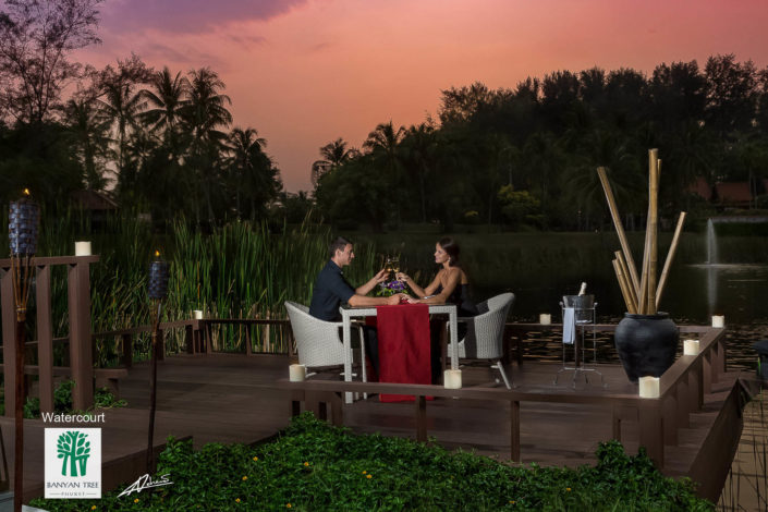 Real estate photography romantic dinner in BanyanTree Phuket restaurant .