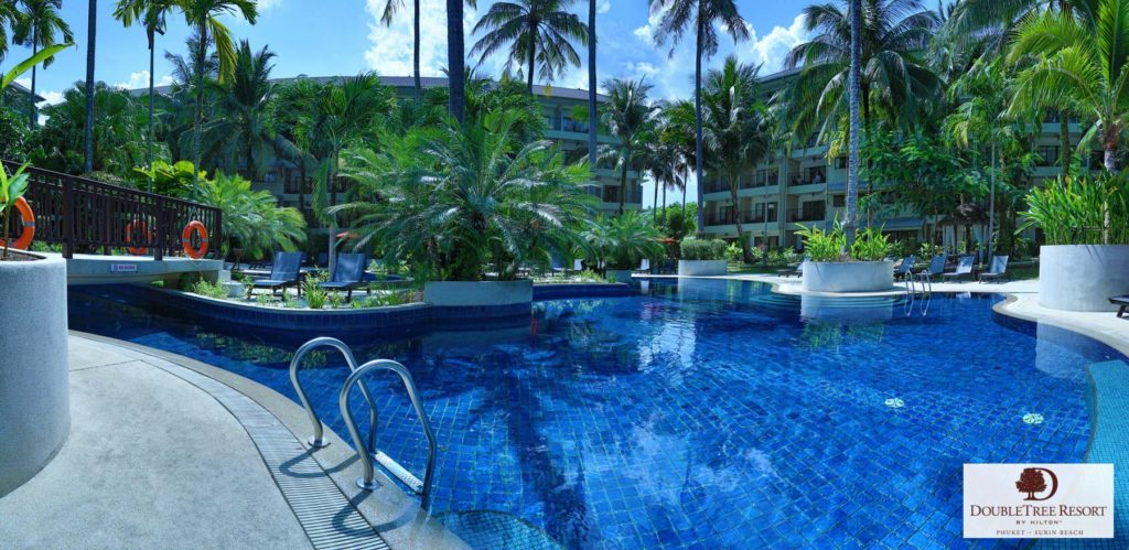 Real estate photography swimming pool of Doubletree resort by Hilton Phuket.