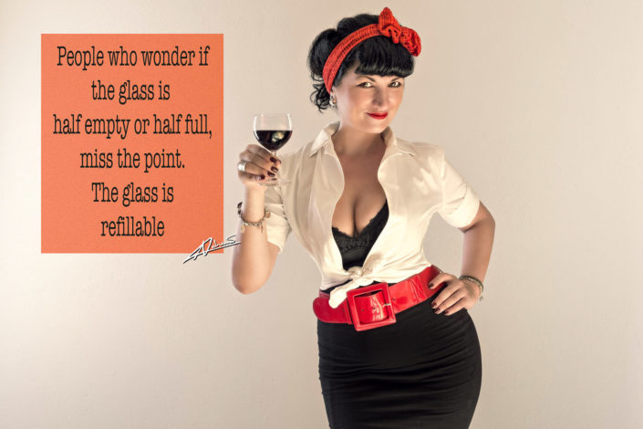 Retro portrait photography happy woman with wine pin up postcard.