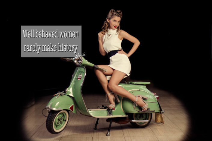 Retro portrait photography well behaved woman on the vespa pin up postcard.