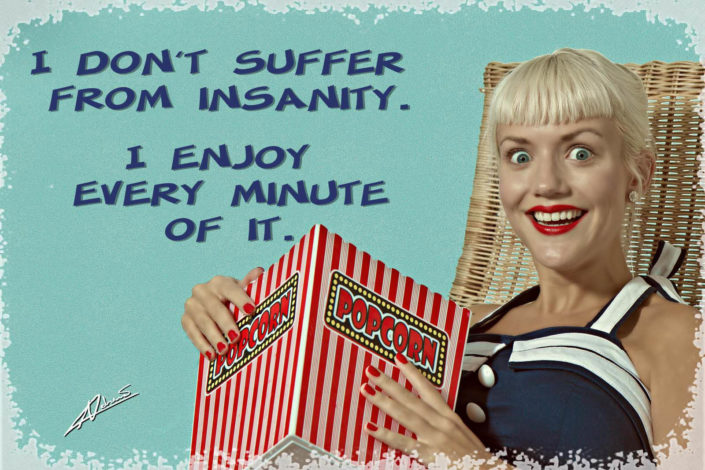 Retro portrait photography woman enjoy insanity pin up postcard.