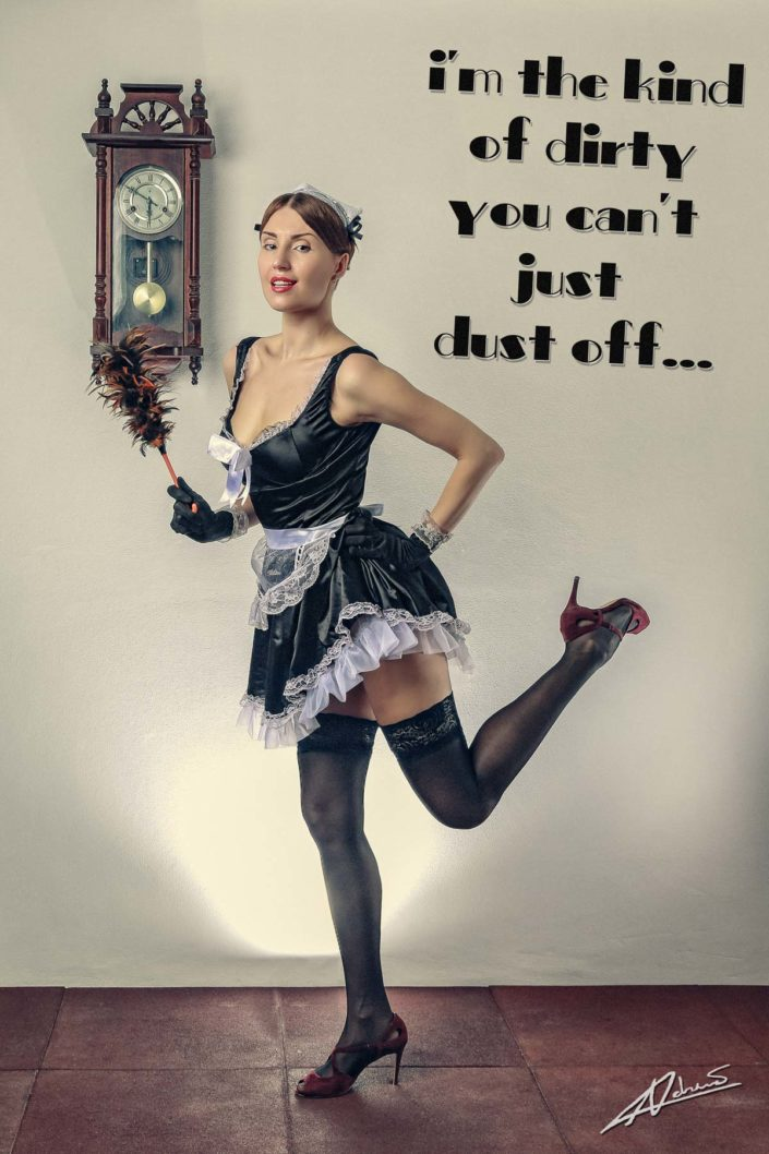 Retro portrait photography woman french maid pin up postcard.