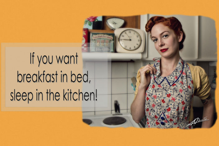 Retro portrait photography woman in the kitchen pin up postcard.