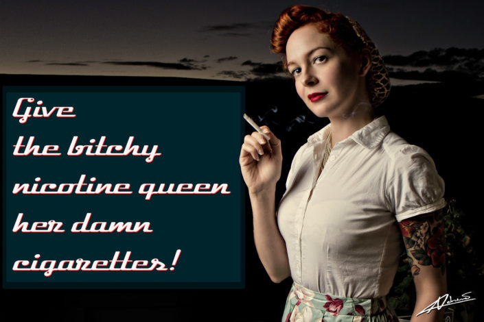 Retro portrait photography woman nicotine queen pin up postcard.