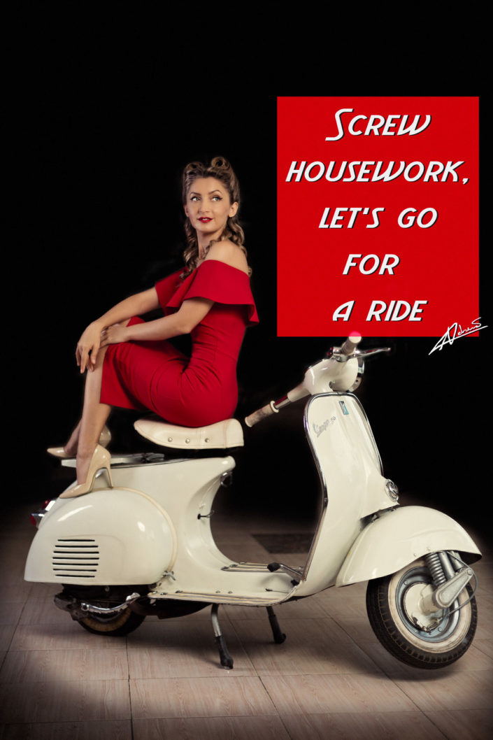 Retro portrait photography woman on the vespa pin up postcard.