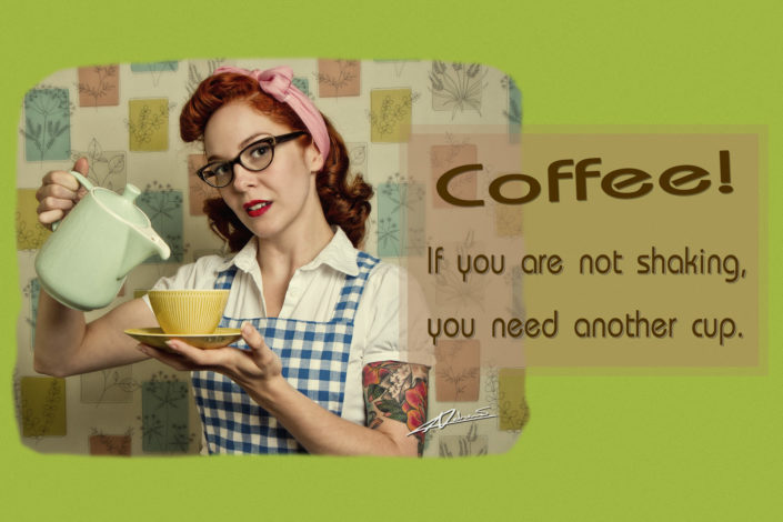 Retro Pinup photography woman with coffee postcard.