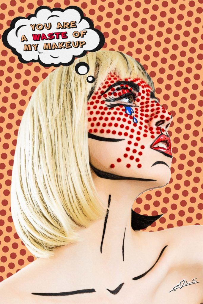 Fantasy photography pop art comic face of wonam with red dots and crying make up.